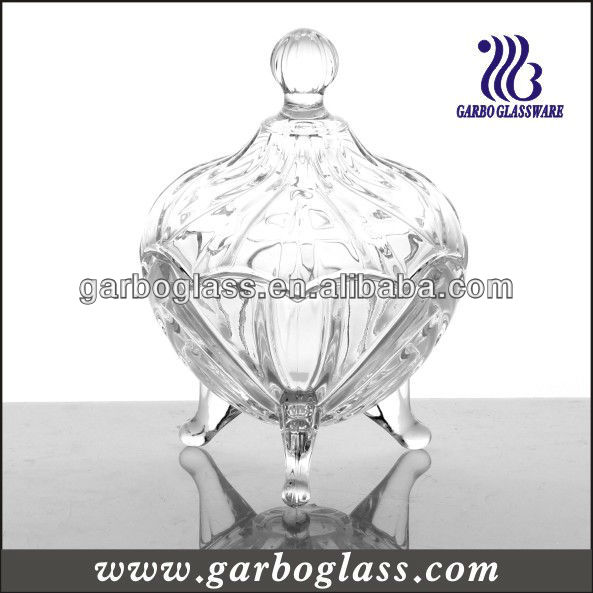 Beautiful Clear Glass Candy Jar engraved with grapes