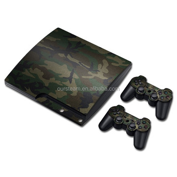 For PS3 Slim Console Vinyl Skin + 2 PCS Controller Skin Stickers