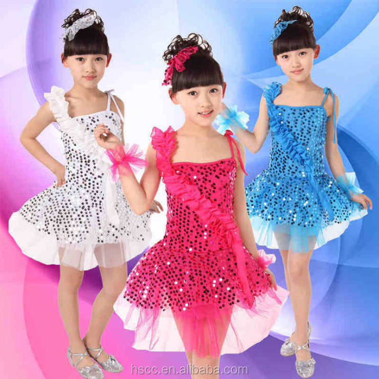 New Fashion Girls' Modern Dancing Costumes Sparkly Sequined Ballroom Dresses Performance Wear Christmas Party Dresses
