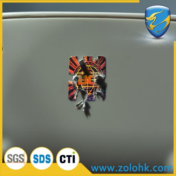 Fast delivery high quality Holographic destructible paper label, tamper proof fragile hologram sticker