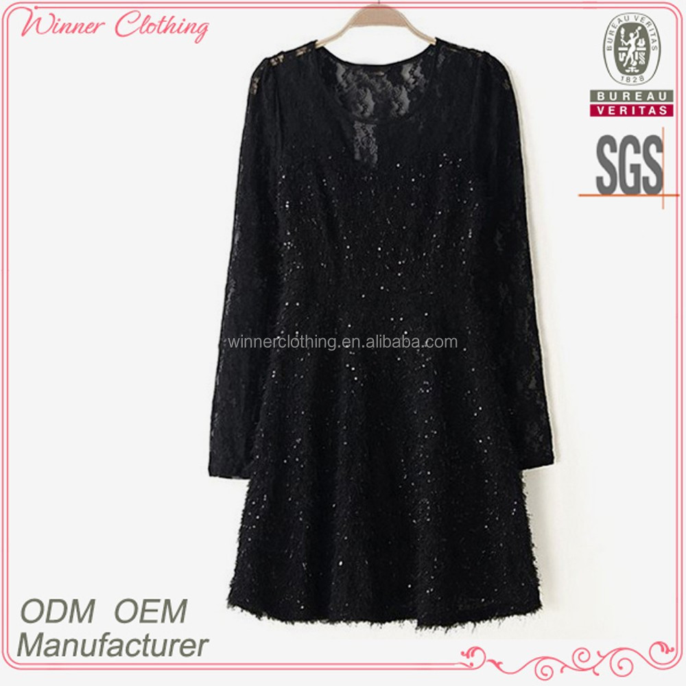 good quality hot selling h-line black lace overall ladies woven blouses