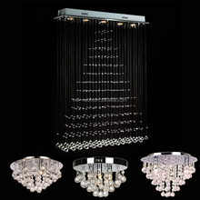 Raindrop Crystal Chandelier Rectangle Crystal Rain Drop Chandelier Lamps Modern Contemporary Ceiling Pendant Light