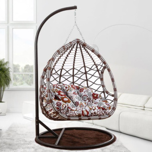 Hot selling outdoor double rocking egg hanging swing rattan chair