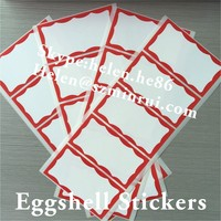 Best Price Blank Eggshell Stickers with Red Borders in 100x80mm Size,Plastic Egg Shell Stickers Blank on Sheets