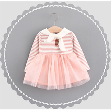Fashion Navy Style Striped Girls Dress Cute Cartoon Rabbit Printed Baby Girls Clothes Spring Autumn Kids Clothing