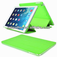 Premium Leather Stand Fold Cover+ Rubberized Clear Back Case For iPad Air 5