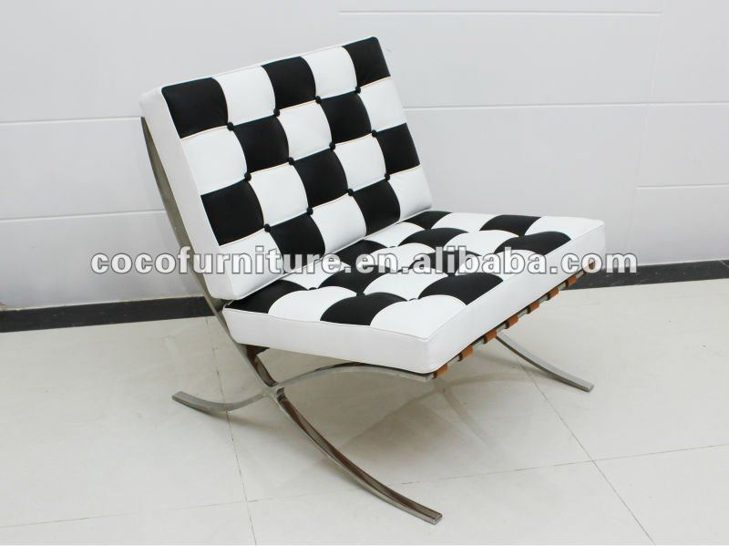 Barcelona chair 8030-1# black mixed white leather