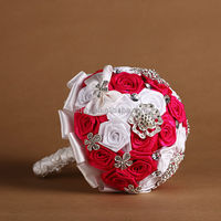 2015 Fresh Design Wedding Brooch Bouquet,wholesale rose flower bridal bouquets,bouquet with rhinestone embellishment