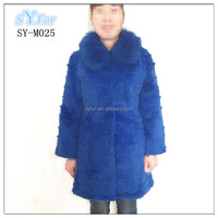 Korea long style ladies real rabbit fur coat with fox fur collar genuine fur jacket garment for women and girl