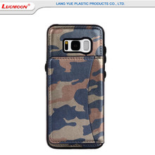 Manufacturer wholesale stand flip mobile phone back cover for Samsung s8 plus camouflage pattern pu cases cover with card slots