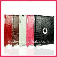 For iPad 2 Smart Cover Leather Case and Rotating Stand With Luxury Crocodile Pattern