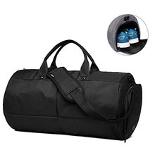 Canvas Travel Duffel Bag Shoes Bag Waterproof Sports Gym Luggage with Shoes Compartment