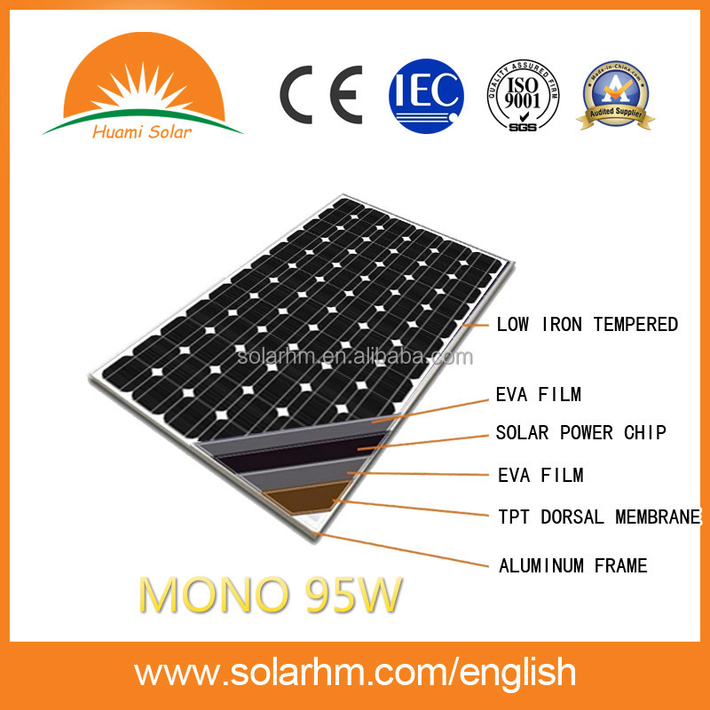 HOT SALE 95W MONO crystalline solar panel solar module with CE TUV EL test for solar system