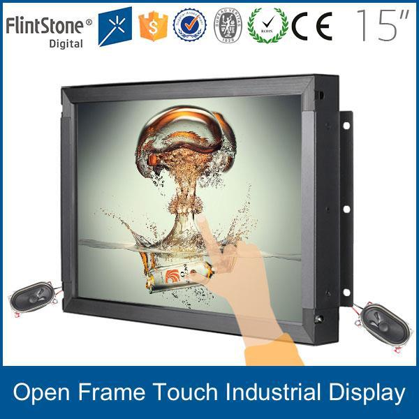 15 inch frameless LCD monitor,open frame POS USB touch screen monitor,frameless LCD industrial display touch screen
