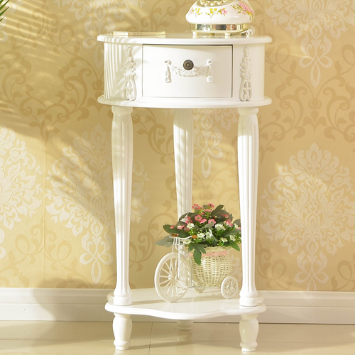 New Products European Style White Bedside Cabinet Wood Home Furniture Modern