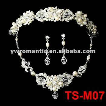 bridal cheap pearl necklace and earring set