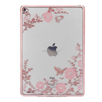 Promotion gift Slim Soft TPU rose gold and gold Plating Frame Secret Garden with Diamond Case for iPad Air 2 /Ipad 6