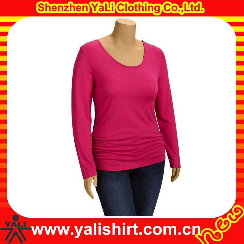 Cheap hot sale scoop neck skinny spandex trendy long sleeve t-shirts wholesale apparel
