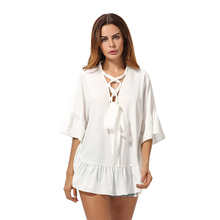 Latest Modern Style Large Size Loose Fit V Neck Tie Stylish Chiffon Tops Shirt Designs For Mature Ladies Blouse & Top