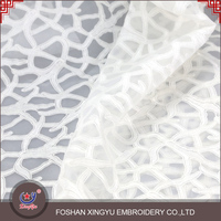 Factory direct sale yellow and white guangzhou african lace embroidery voile fabric wholesale