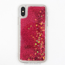 liquid glitter mobile phoen cover for iphoneX Bling star phone case for apple