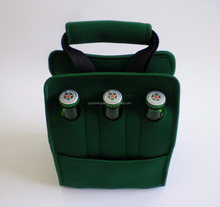 Insulated neoprene six pack beer bottle cooler bag