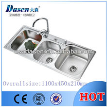 High quality DS11045 deep 3 compartment stainless steel triple bowls brush finish three kitchen wash sink