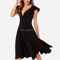 Latest-dress-designs-photos black deep V neck midi woven poly casual dresses new fashion ladies dress