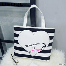 Women Canvas Cartoon Printing Large Leisure Shopping Handbag