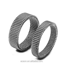 Yiwu Aceon Stainless Steel Plain Cut Mesh Net Band Elastic Ring
