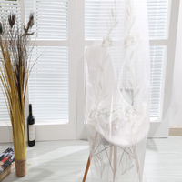 Hotsale tulle organze curtain fabric classic silver cord embroidery lace sheer curtains for rest room window drapes