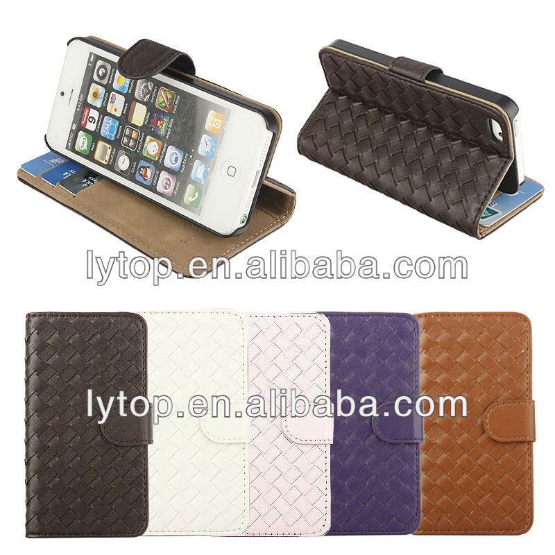 For iphone case 5/ Knit Woven Pattern Leather Wallet Case for Smartphone iPhone 5 5s 5g