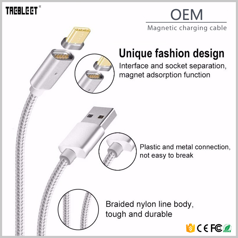 Quick Charging 2.4A Micro USB Adapter Data Sync Magnetic Charging <strong>Cable</strong> For Samsung