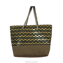2018 newest hot stamping design ladies cotton jute tote bags