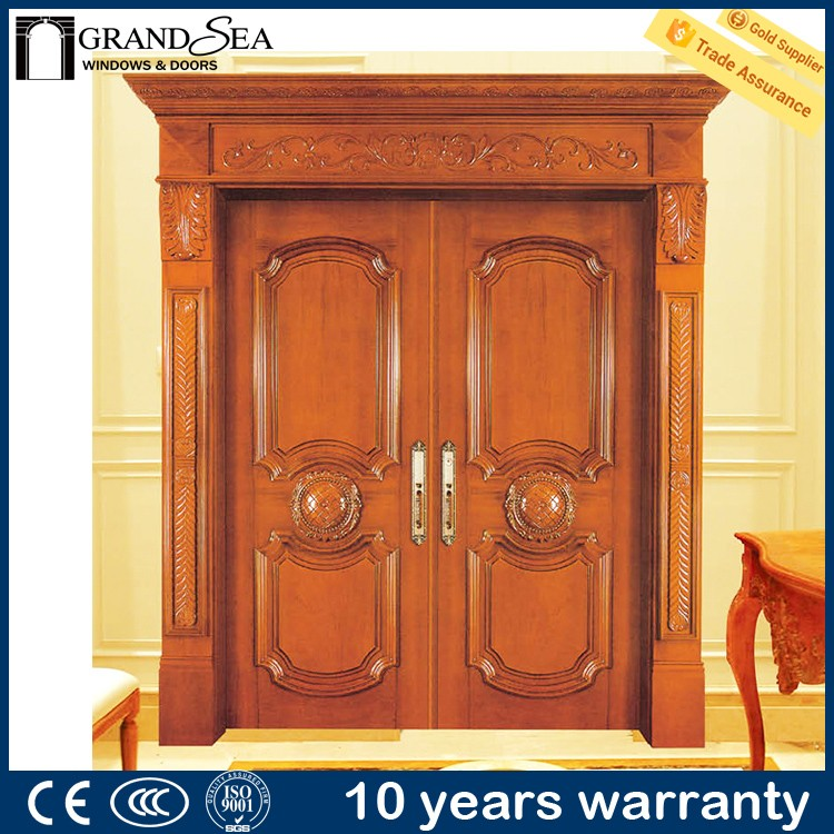 Guangzhou producer antique carved simple panels double solid wood door for safety