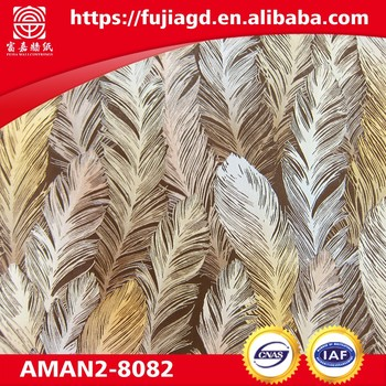 new design embossed feather waterproof vinyl sticker 3d pvc wallpaper for interior decor