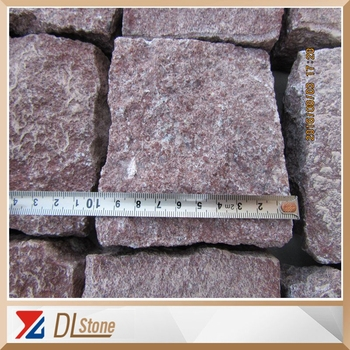 Split Surface China Red Porphyry Granite Cobble stones Pavers