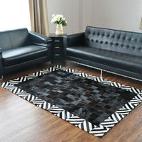 black cowhide leather carpet,real leather patchwork carpet ,cowhide patchwork rugs