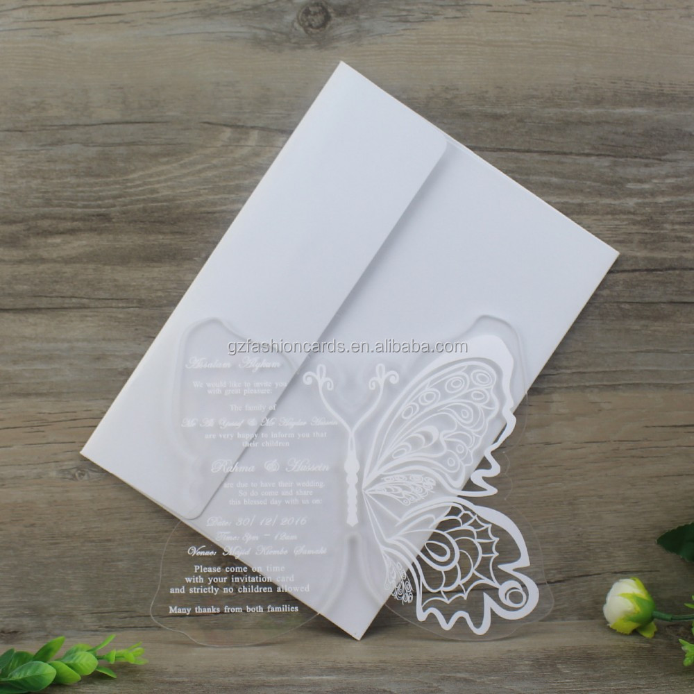 Transparent Customized Hot Stamp Acrylic Wedding Invitation