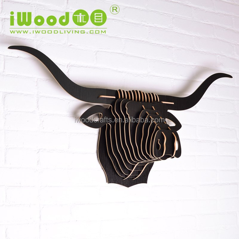Buffalo head wood carved wall hanging