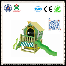 Nature Village style play house/ kids wooden playhouse/ playhouse with slide/ wooden playhouse with slide QX-204G