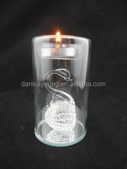 Wholesale votive glass spun swan wall tealight candle holders for home decorations