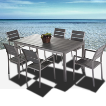 Outdoor Brushed Aluminum garden set Dining tables and chairs used for restaurants