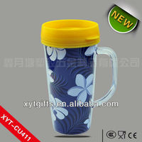 Fashionable BPA Free 15oz. Paper Cup Double Wall Plastic Cover With Handle Any Color