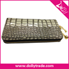 Grey Single Zipper Bright Crocodile Wallet Purse Hand bags for Woman