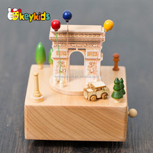 New design baby wooden music box cartoon toys wooden music box for toddlers W07B043