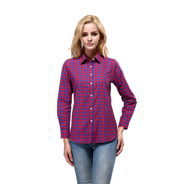 25NZ002 Wholesale Long Sleeve Fashion Newest Casual Plaid Shirts For Women