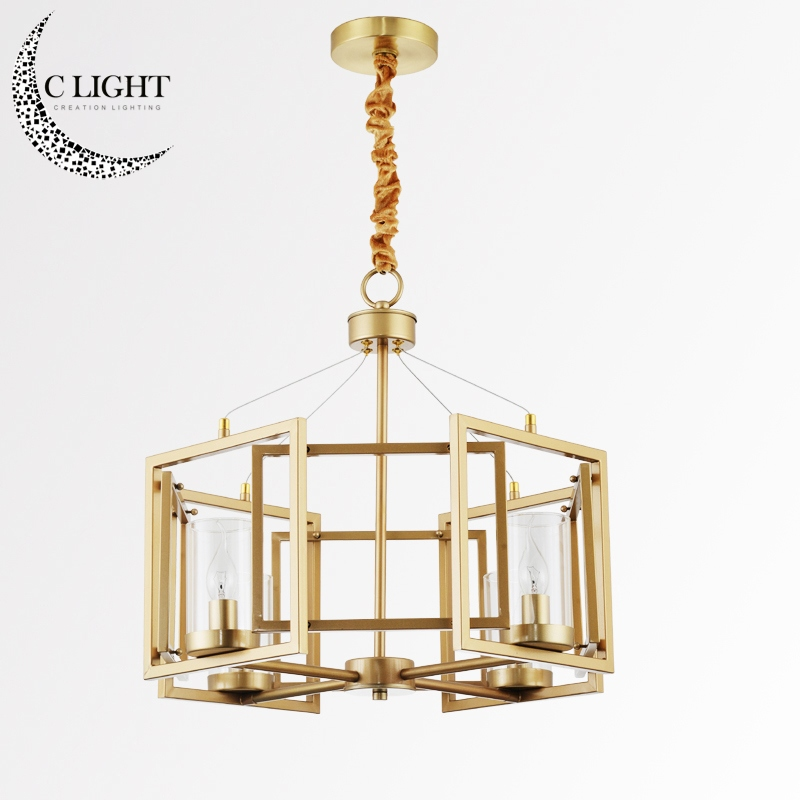 4 Square Frames Modern Kevin Reilly Altar Pendant Light Lamp Gold Color