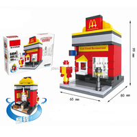 HSANHE I Play Plastic Toy House Fast Foods Restaurant Quare building blocks toys