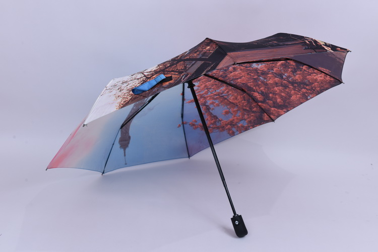 Automatic open 3 folding umbrella surface printing pictures straight rod umbrella
